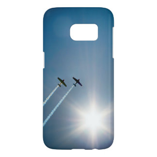 Airplanes Flying on Blue Sky with Sun. Samsung Galaxy S7 Case
