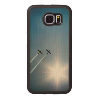 Airplanes Flying on Blue Sky with Sun. Wood Phone Case