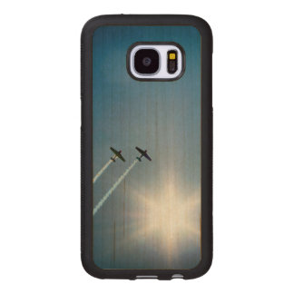Airplanes Flying on Blue Sky with Sun. Wood Samsung Galaxy S7 Case