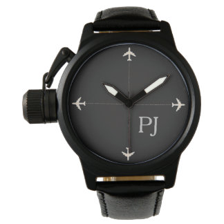 airplanes with initials, stylish black watches