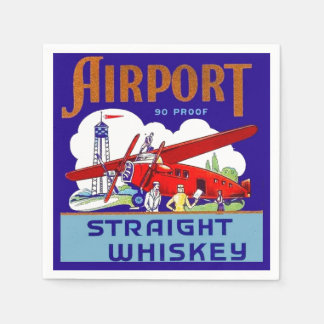 Airport Airplane Pilot Fly Trip Vintage Whiskey Ad Paper Napkins