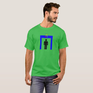 airport metal detector security alarm stick man sy T-Shirt