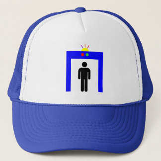 airport metal detector security alarm stick man sy trucker hat