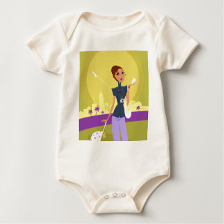 Airport woman gold baby bodysuit