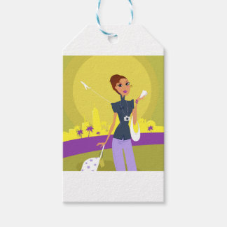 Airport woman gold gift tags
