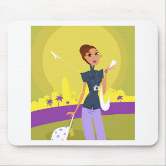 Airport woman gold mouse pad