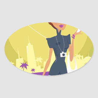 Airport woman gold oval sticker