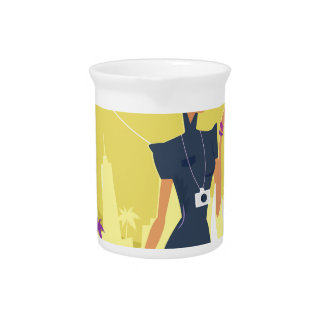 Airport woman gold pitcher