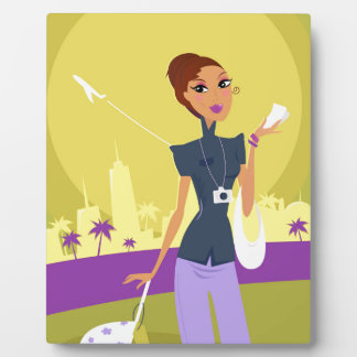 Airport woman gold plaque