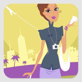 Airport woman gold square sticker