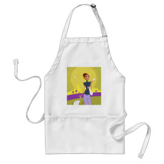 Airport woman gold standard apron