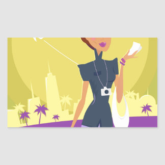 Airport woman gold sticker