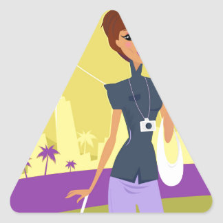 Airport woman gold triangle sticker
