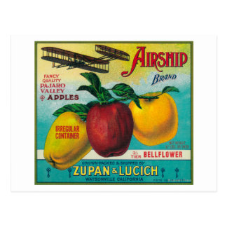 Airship Apple Crate LabelWatsonville, CA Postcard
