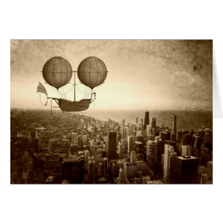 Airship Over Chicago Card