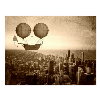 Airship Over Chicago Postcard