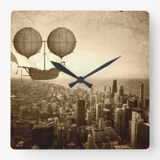 Airship Over Chicago Square Wall Clock