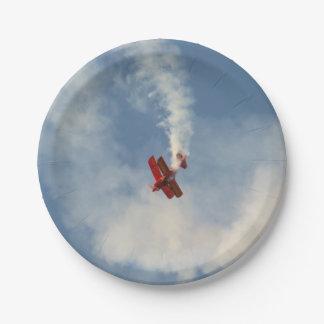 Airshow Stunt Biplane Paper Plate