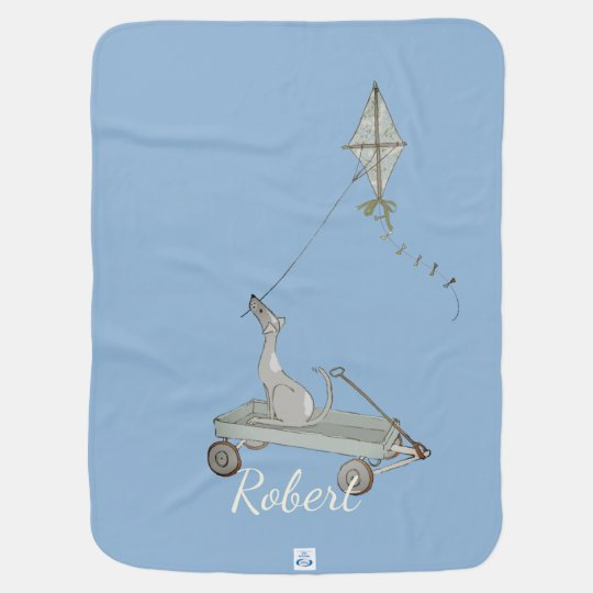Airy Blue Dog with Wagon and Kite Baby Blanket