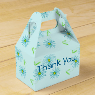 Airy Blue Floral Designer Favor Box