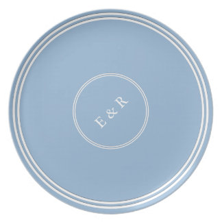 Airy Blue with White Wedding Detail Dinner Plate