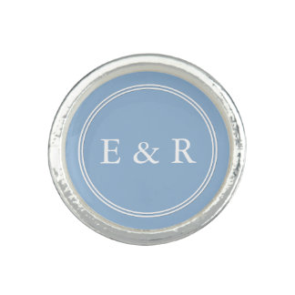 Airy Blue with White Wedding Detail Photo Rings