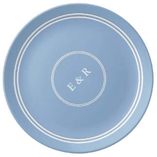 Airy Blue with White Wedding Detail Porcelain Plate