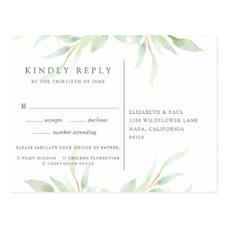 Airy Botanical RSVP Postcard with Meal Choice