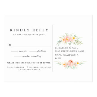 Airy Floral RSVP Postcard with Meal Choice