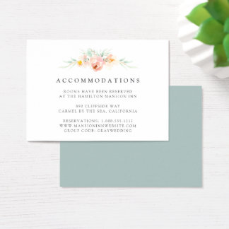 Airy Floral Wedding Hotel Accommodation Cards