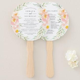 Airy Floral Wedding Program Hand Fan