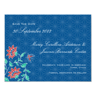 Aiyana Floral Batik Wedding Save The Date Card 3