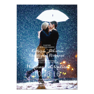 Ajouter au parapluie embrassant à la neige/au carton d'invitation  12,7 cm x 17,78 cm