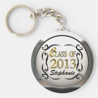 Ajoutez l'or nommé et le porte - clé décoratif porte-clé rond