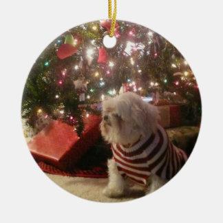 Ajoutez l'ornement d'arbre de Noël de Ornement Rond En Céramique