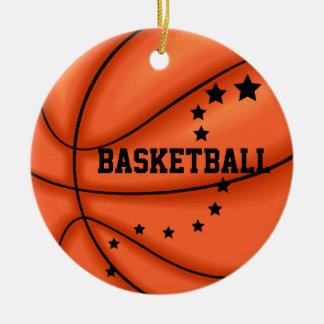 Ajoutez l'ornement de star du basket-ball de photo ornement rond en céramique