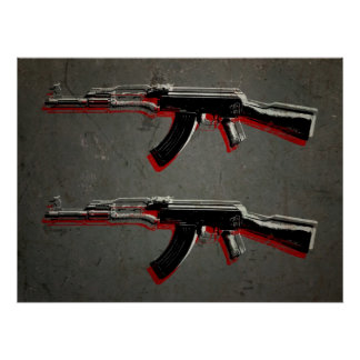 AK47 Assault Rifle Pop Art Poster