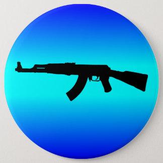AK-47 Silhouette 6 Inch Round Button