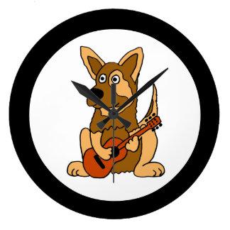 AK- German Shepherd Playing Guitar Wall Clock