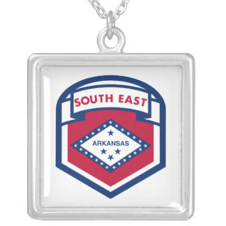 AKANASAS  FLAG zazzle Silver Plated Necklace