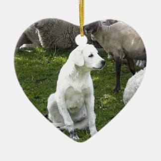 Akbash Dog and Sheep Herd Ceramic Heart Ornament