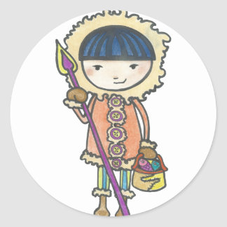 Akiou small the Inuit Classic Round Sticker