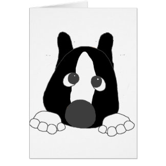 akita black and white mask white markings peeping. card