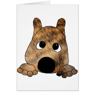 akita brown brindle fur peeking card