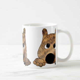 akita brown brindle fur peeking coffee mug