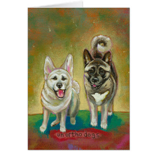 Akita dog art happy dogs fun painting Unorthodogs Card