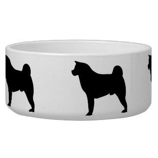 Akita dog beautiful black silhouette pet dog bowl