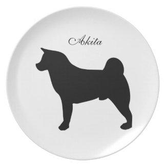 Akita dog black silhouette plate