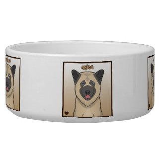 Akita Dog Cartoon Heart Box Dog Water Bowls