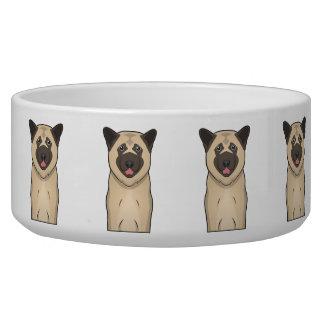 Akita Dog Cartoon Portrait Dog Food Bowls